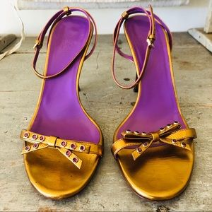 ❤️ Gucci ❤️ Purple & Gold Strappy Heels